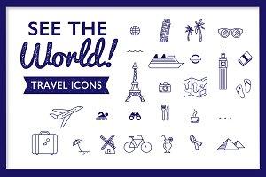 Bon Voyage! 25 Vector Travel Icons