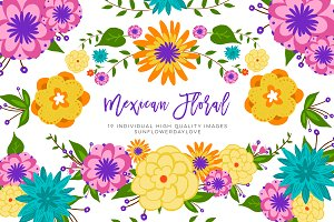 Mexican Floral Colorful Clipart