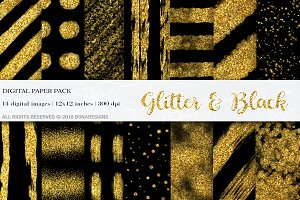 Glitter & Black Digital Papers