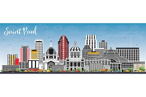 Saint Paul Minnesota City Skyline