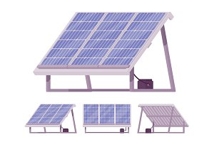 Solar cells panel kit with battery