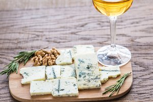 Roquefort with glass of white wine