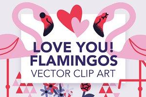 Love You! Lovely Flamingos Art Pack