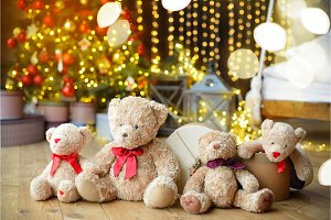 Family of teddy bears siting under