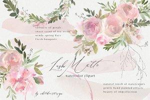 Lush Matte Watercolor Floral Clipart