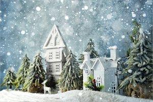 Frosty winter wonderland forest with