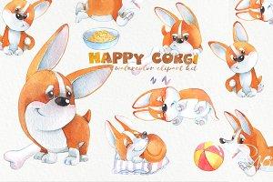 Watercolor corgi puppies clipart set