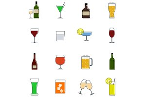 Drink color icon set in flat design