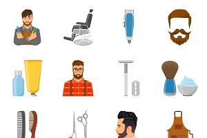 Barber flat icons set