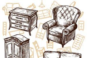 Furniture sketch hand drawn set