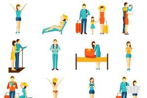 International travelling icons set