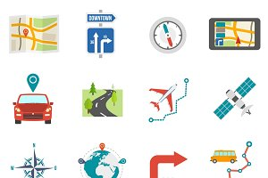 Map and gps navigation icons set