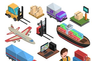 Delivery types isometric icons