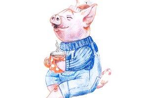A Christmas pig character