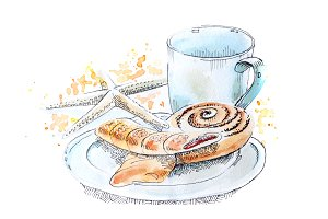 A cup and cookies watercolour