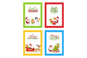 Merry Christmas Cards with Cartoon