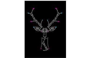 Deer head artistic black with orname