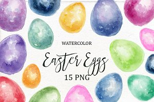 Watercolor Easter Eggs Clipart.