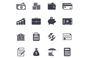 Money black icons