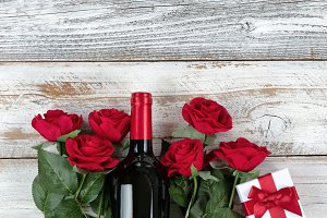 Valentines celebration with red gift