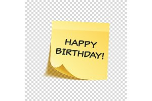 Sticky note with text and shadow