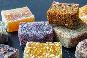 Arab sweets on dark background