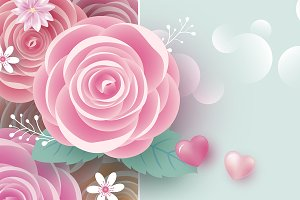 Rose flowers banner with copy space