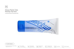 Glossy Plastic Tube Mockup Top View