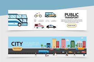 Flat public transport banners