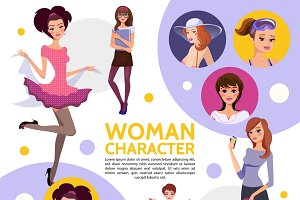 Woman characters composition