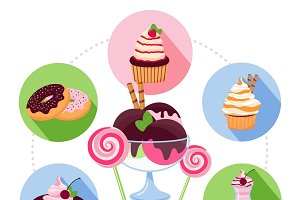 Cartoon sweet products concept