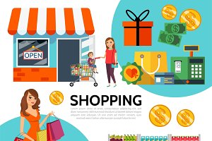 Flat shopping composition