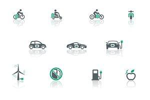 Electric transport icon set