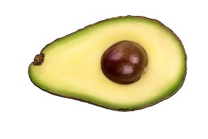 half avocado isolated on white