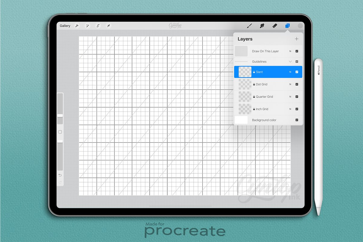 Dot and Square Grid for Procreate