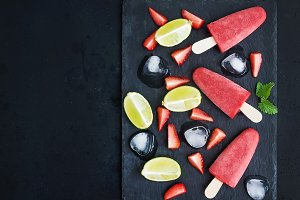 Strawberry and lime ice-creams