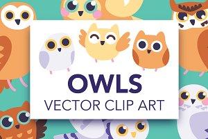 Owl Vector Clip Art Pack