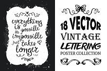 18 Vintage Lettering Poster Set
