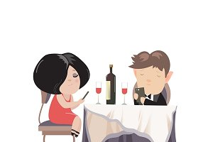 Couple dinner with smartphones