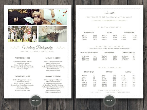 Wedding Photographer Pricing Guide Stationery Templates Creative Market