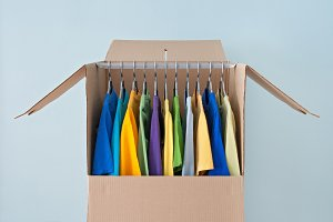Bright clothing in a wardrobe box