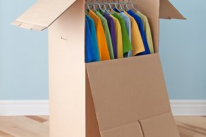 Wardrobe box with colorful clothing