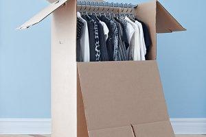 Wardrobe box with clothing