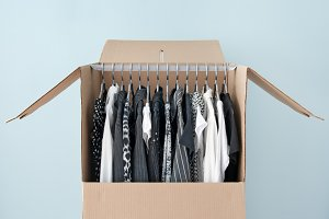 Clothes in a wardrobe box for moving