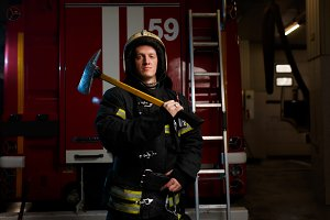 Image of fireman in protective