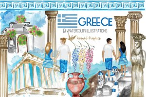 Greece watercolor illustrations
