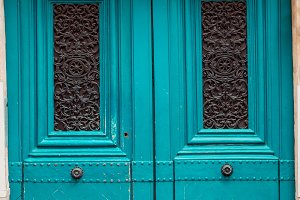 Old blue medieval doors