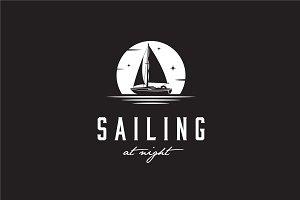 Simple Sailing Yacht Silhouette Logo