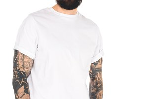handsome bearded man with tattoos an