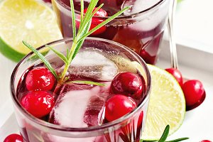 Red refreshing cranberry cocktail